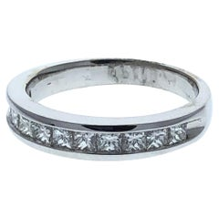 1.00 Carat Princess Diamond Wedding Ring in 14 Karat White Gold