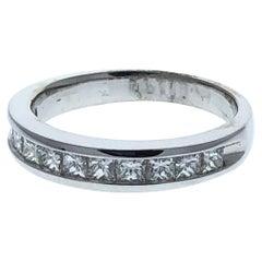 1.00 Carat Princess Diamond Wedding Ring in 14 Karat White Gold