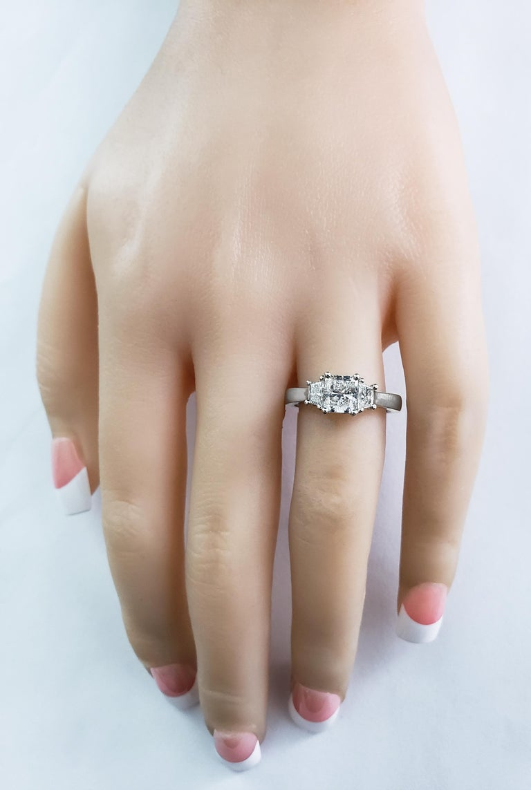 Contemporary Roman Malakov, 1.00 Carat Radiant Cut Diamond Three-Stone Engagement Ring For Sale