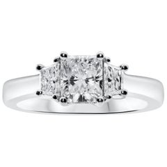 Roman Malakov, 1.00 Carat Radiant Cut Diamond Three-Stone Engagement Ring