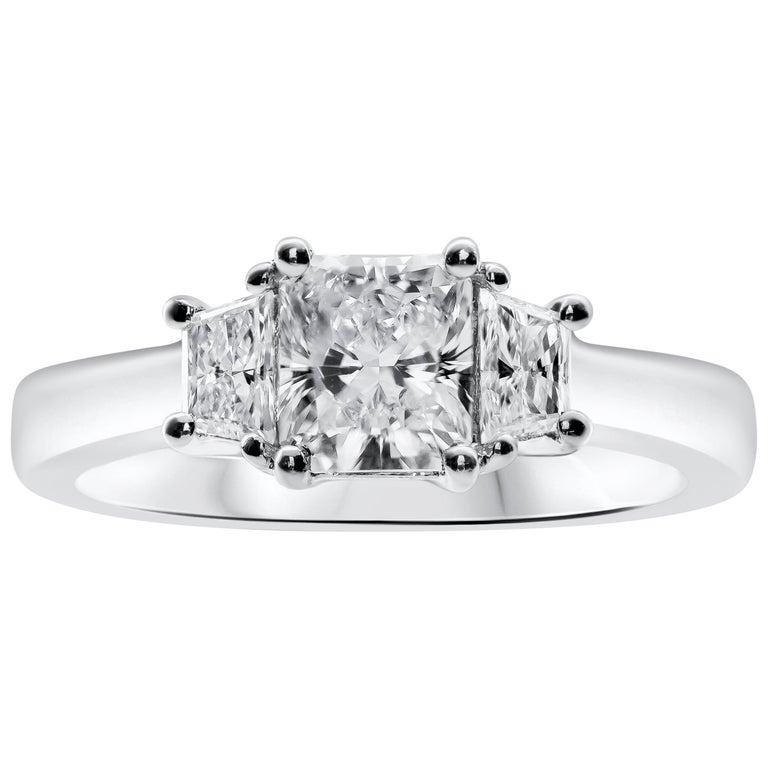 Roman Malakov, 1.00 Carat Radiant Cut Diamond Three-Stone Engagement Ring For Sale