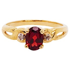 1.00 Carat Rhodolite Garnet and Diamond Ring, Three-Stone Ring, 14 Karat Gold