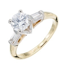 1.00 Carat Round Baguette Diamond Gold Engagement Ring