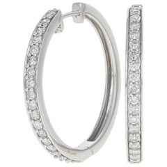 1.00 Carat Round Brilliant Diamond Earrings, 14 Karat White Gold Pierced Hoops