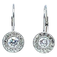 1.00 Carat Round Brilliant Diamond Platinum Dangle Earrings