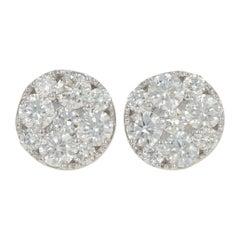 1.00 Carat Round Brilliant Diamond Stud Earrings, 14k Gold Cluster Halo Pierced