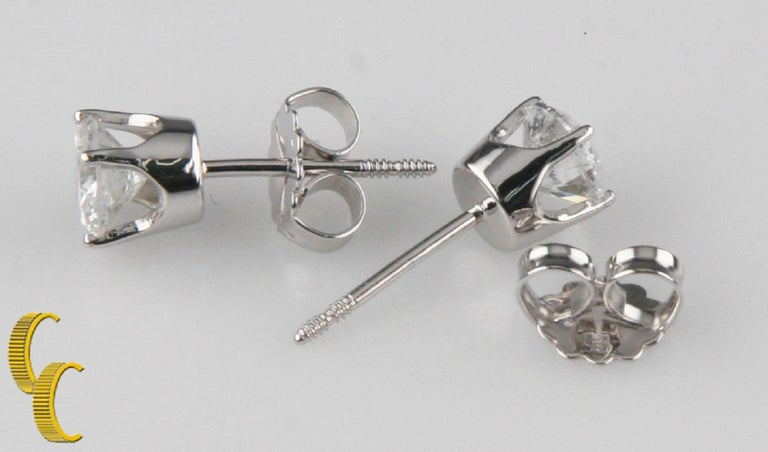 14k White Gold Diamond Solitaire Stud Earrings Total Diamond Weight = 1.00 ct Average Color = G - H Average Clarity = I1 - I2 Total weight= 1.1 grams