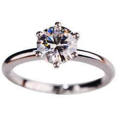 1.00 Carat Round Cut Moissanite 18 Karat White Gold Engagement Ring