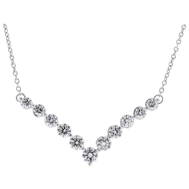 Certified 1.00 Carat Round Diamond Chevron Necklace in 14 Karat White Gold For Sale