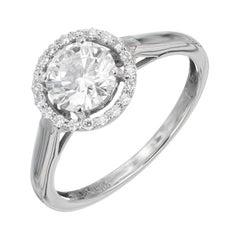 1.00 Carat Round Diamond Halo White Gold Engagement Ring