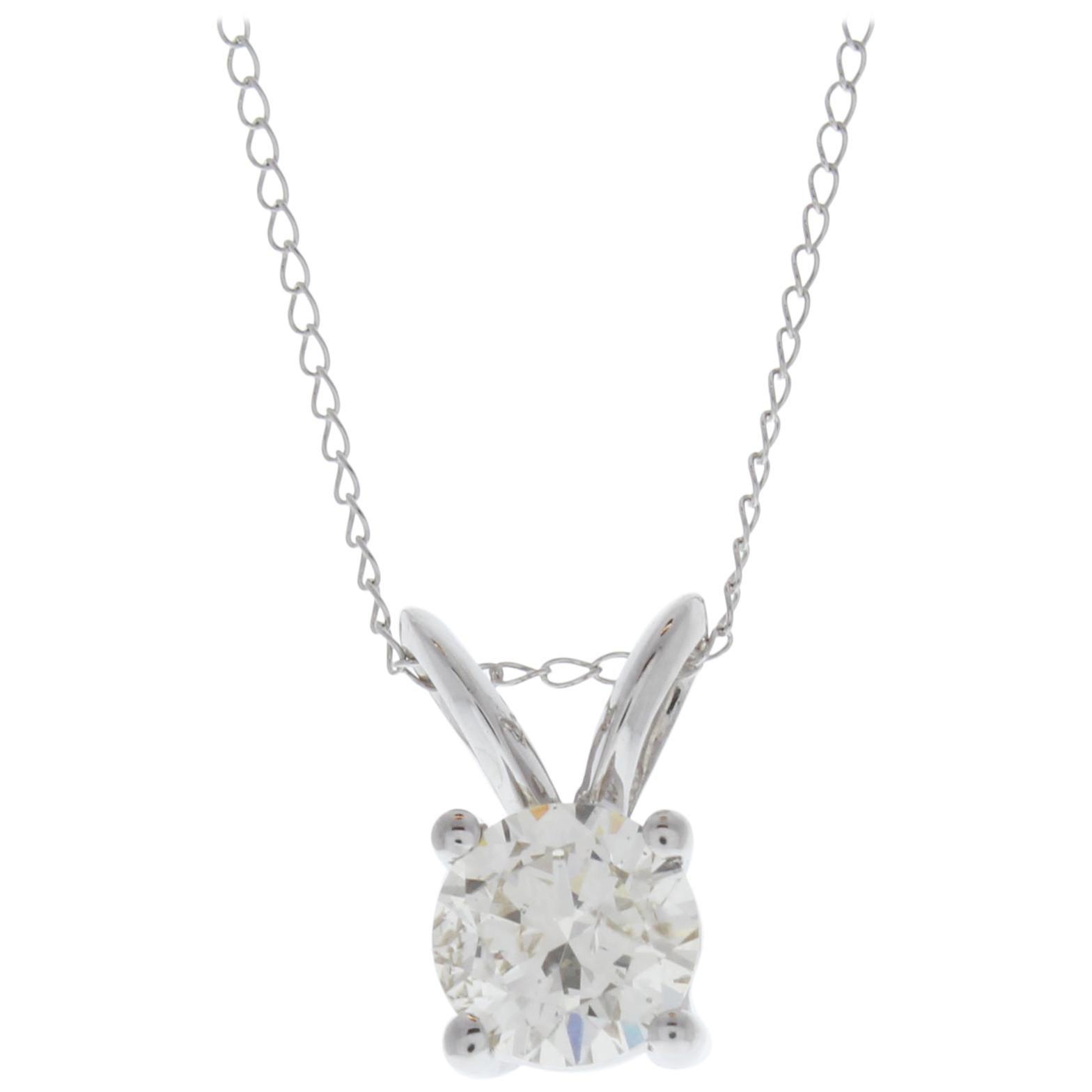 1.00 Carat Round Diamond Solitaire Pendant in 14 Karat White Gold
