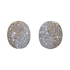 1.00 Carat Round Diamond Yin-Yang Stud Earrings