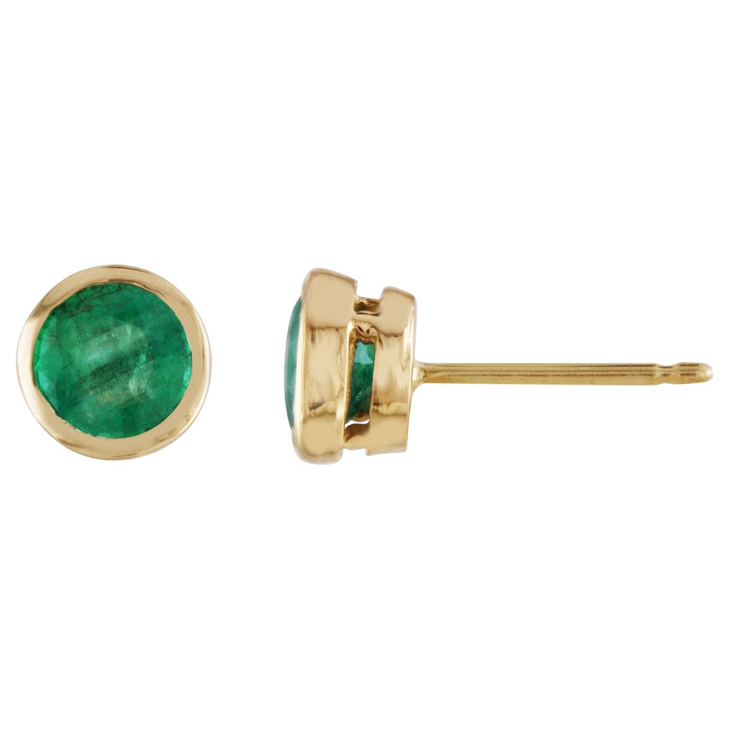 1.00 Carat Round Emeralds Gold Studs Earrings