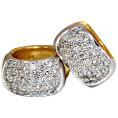 1.00 Carat Round Natural Diamond Huggie Earrings 14 Karat