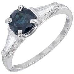 1.00 Carat Round Sapphire Baguette Diamond Three-Stone Platinum Engagement Ring