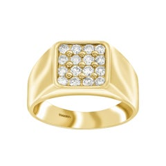 1.00 Carat Round White Diamond 18 KT Yellow Gold Men's Signet Ring