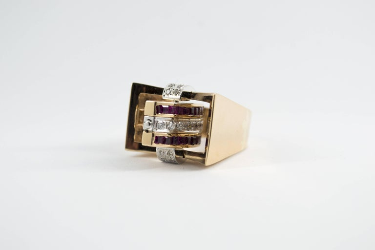 1.00 Carat Ruby Blue Sapphire 0.50 Carat White Diamond Yellow Gold