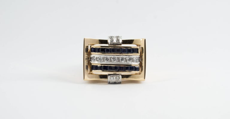 This Ring is made of 14K Yellow Gold. This Ring has 0.50 Carats of White Diamonds. This Ring has 0.50 Carats of Rubies. This Ring has 0.50 Carats of Blue Sapphires. This Ring is inspired by Renaissance Style. Size ITA: 15 USA: 7 We're a workshop so