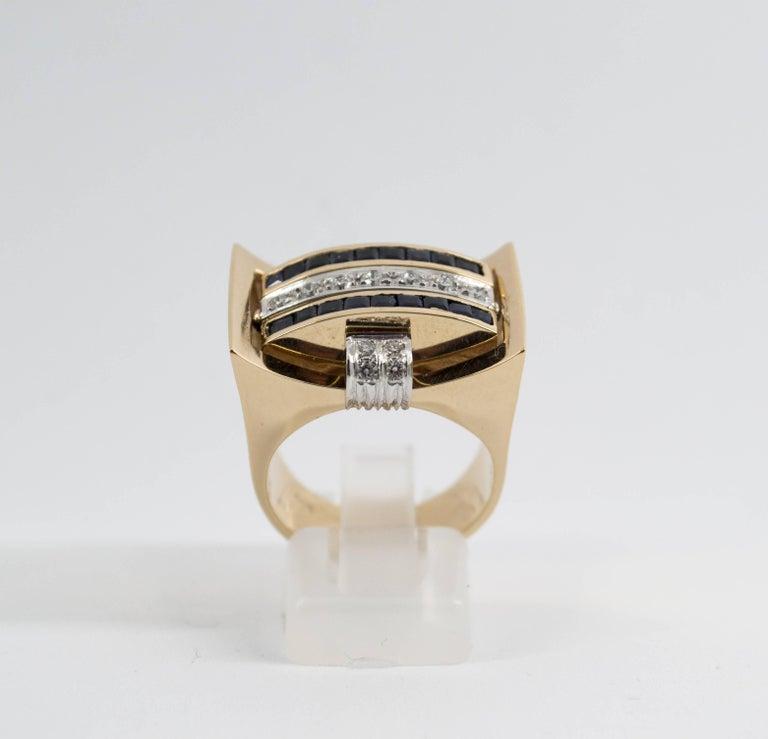 Renaissance 1.00 Carat Ruby Blue Sapphire 0.50 Carat White Diamond Yellow Gold