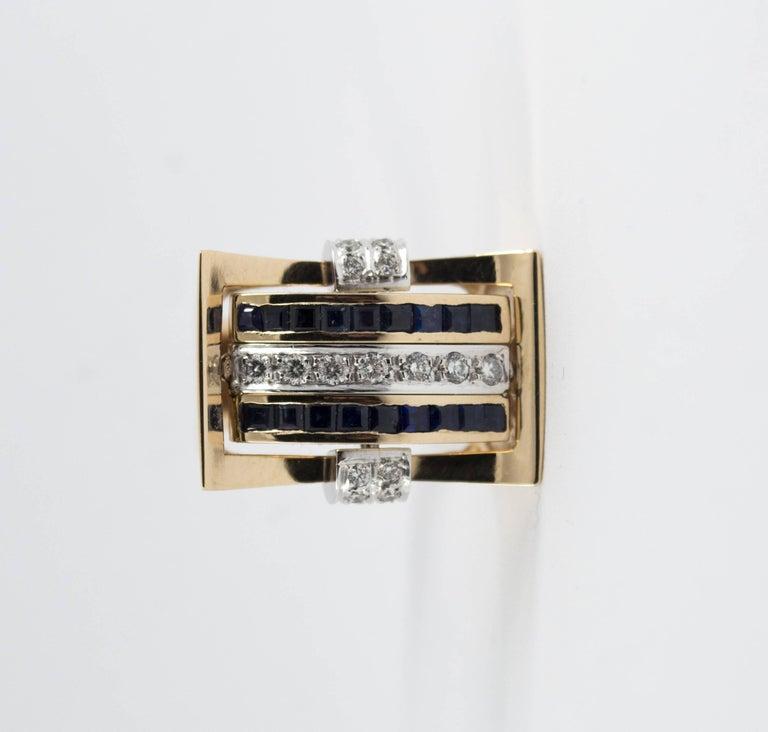 1.00 Carat Ruby Blue Sapphire 0.50 Carat White Diamond Yellow Gold