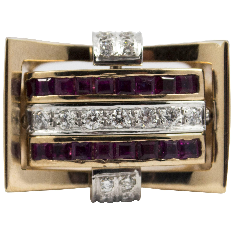 "1.00 Carat Ruby Blue Sapphire 0.50 Carat White Diamond Yellow Gold ""Swivel"" Ring"