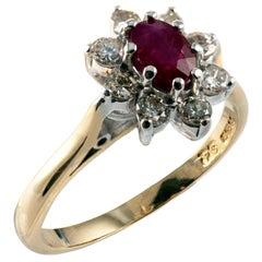 1.00 Carat Ruby Diamond Flower Dress Ring, 18 Karat Gold, Full UK Hallmarks