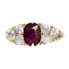1.00 Carat Ruby Yellow Gold Engagement Ring