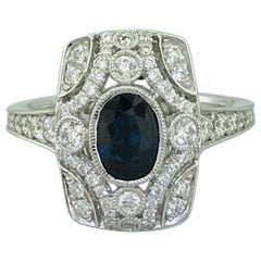 1.00 Carat Sapphire and Diamond Antique-Style Ring in 18 Karat White Gold