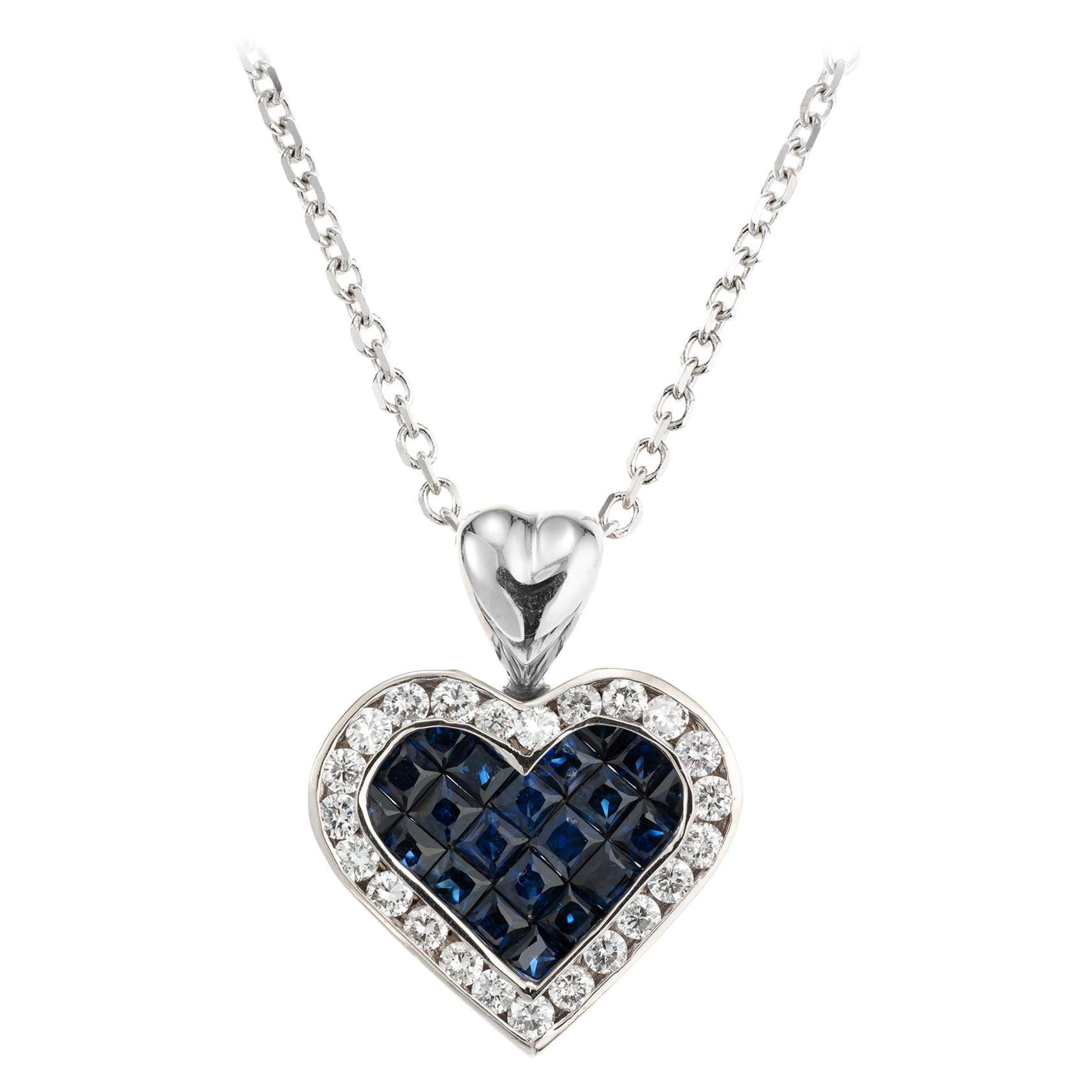 1.00 Carat Sapphire Diamond Halo White Gold Heart Pendant Necklace