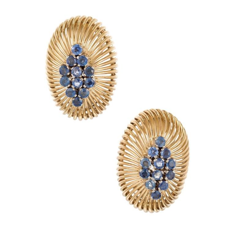 1.00 Carat Sapphire Midcentury Gold Earrings