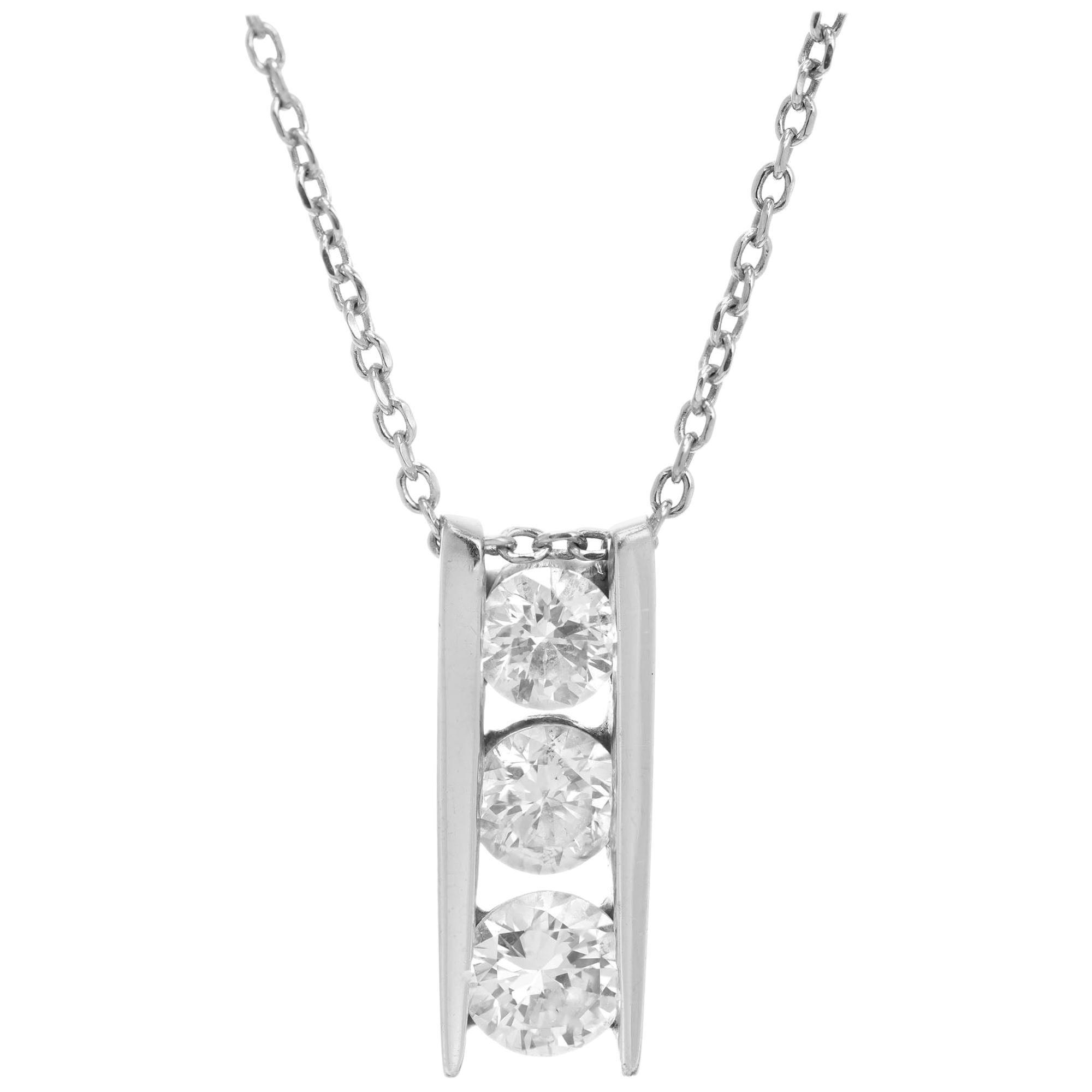 1.00 Carat Three Diamond White Gold Pendant Necklace