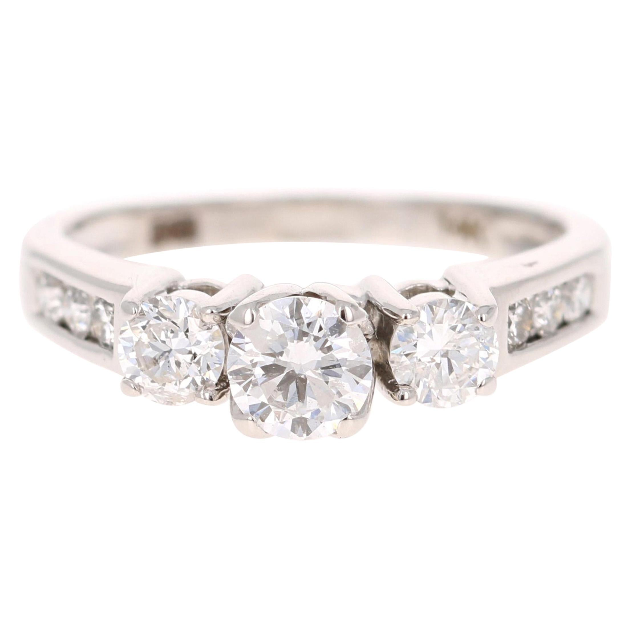 1.00 Carat Three-Stone Diamond 14 Karat White Gold Engagement Ring