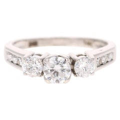 1.00 Carat Three-Stone Diamond 14 Karat White Gold Engagement Ring