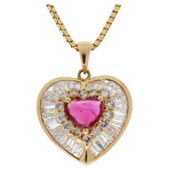 1.00 Carat Total Heart Shaped Ruby & Diamond Pendant in 18 K Yellow Gold