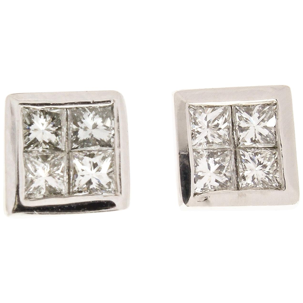 1.00 Carat Total Princess Cut Diamond Earrings in 18 Karat White Gold