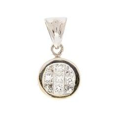 1.00 Carat Total Princess Cut Diamond Pendant in 18 Karat White Gold