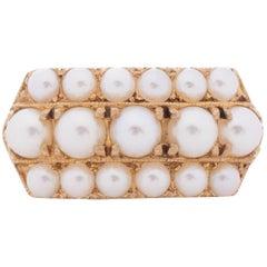 1.00 Carat Total Weight Art Deco 14 Karat Yellow Gold Pearl Ring