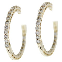1.00 Carat Total Weight Diamond Inside-Outside Hoop Earrings in 14 Karat Gold