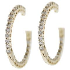 1.00 Carat Total Weight Diamond Inside-Outside Hoop Earrings in 14 Karat Gold