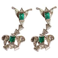 1.00 Carat Total Weight Diamond Platinum Earrings