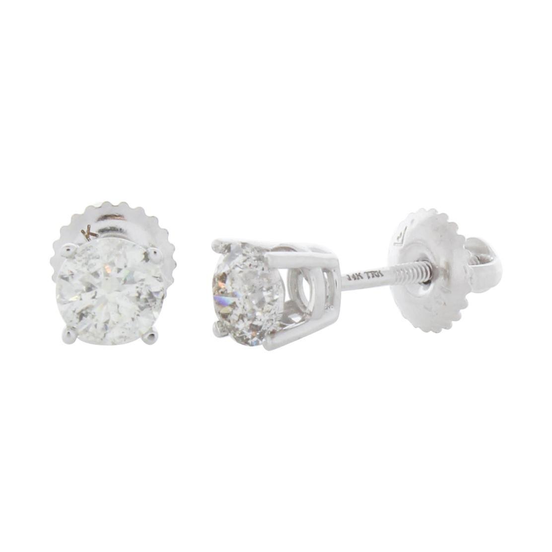 1.00 Carat Total Weight Diamond Stud Earrings in 14k White Gold