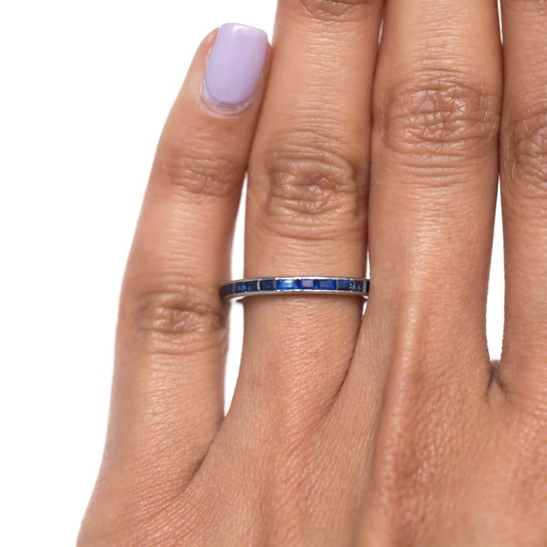 1.00 Carat Total Weight Sapphire White Gold Wedding Band In Good Condition For Sale In New York, NY