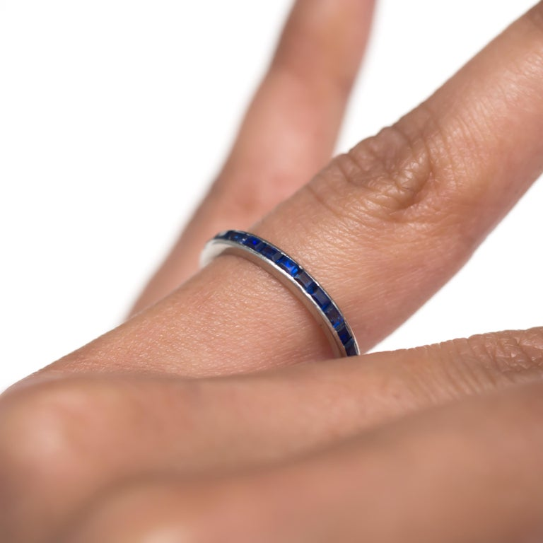 Women's or Men's 1.00 Carat Total Weight Sapphire White Gold Wedding Band For Sale