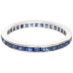 1.00 Carat Total Weight Sapphire White Gold Wedding Band