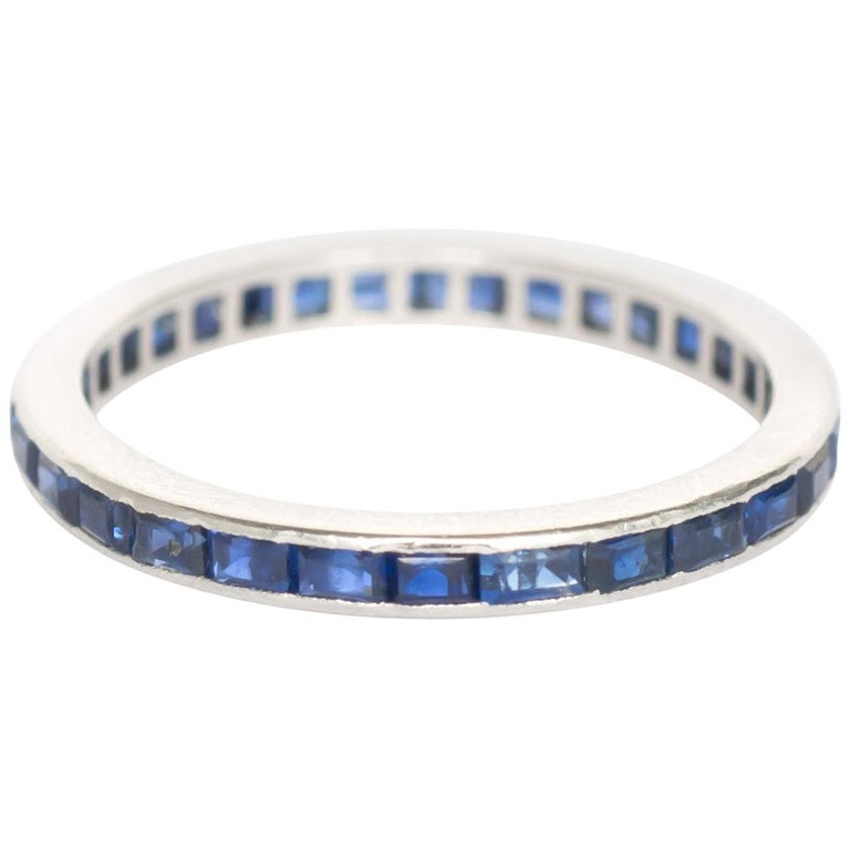 1.00 Carat Total Weight Sapphire White Gold Wedding Band For Sale