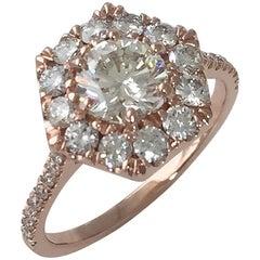 1.00 Carat TW Round Diamond Hexagon Halo Engagement Ring 14 Karat, Ben Dannie