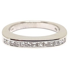 1.00 Carat White Gold Princess Diamond Memory Ring