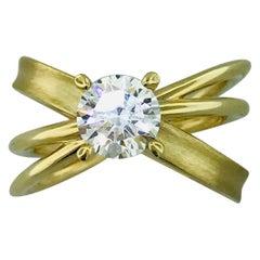 1.00 Carat X Design Solitaire Satin and Polish Ring in 14 Karat Yellow Gold