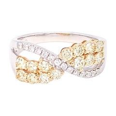 1.00 Carat Yellow & White Diamond Band Ring in 14K Two Tone Gold