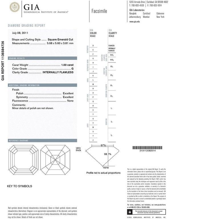 Asscher Cut 1.00 Carat Flawless GIA Certified Asscher Diamond Halo in 14 Karat Gold For Sale